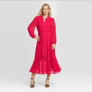 🌹Who What Wear Women Long Sleeve Maxi Red Dress
